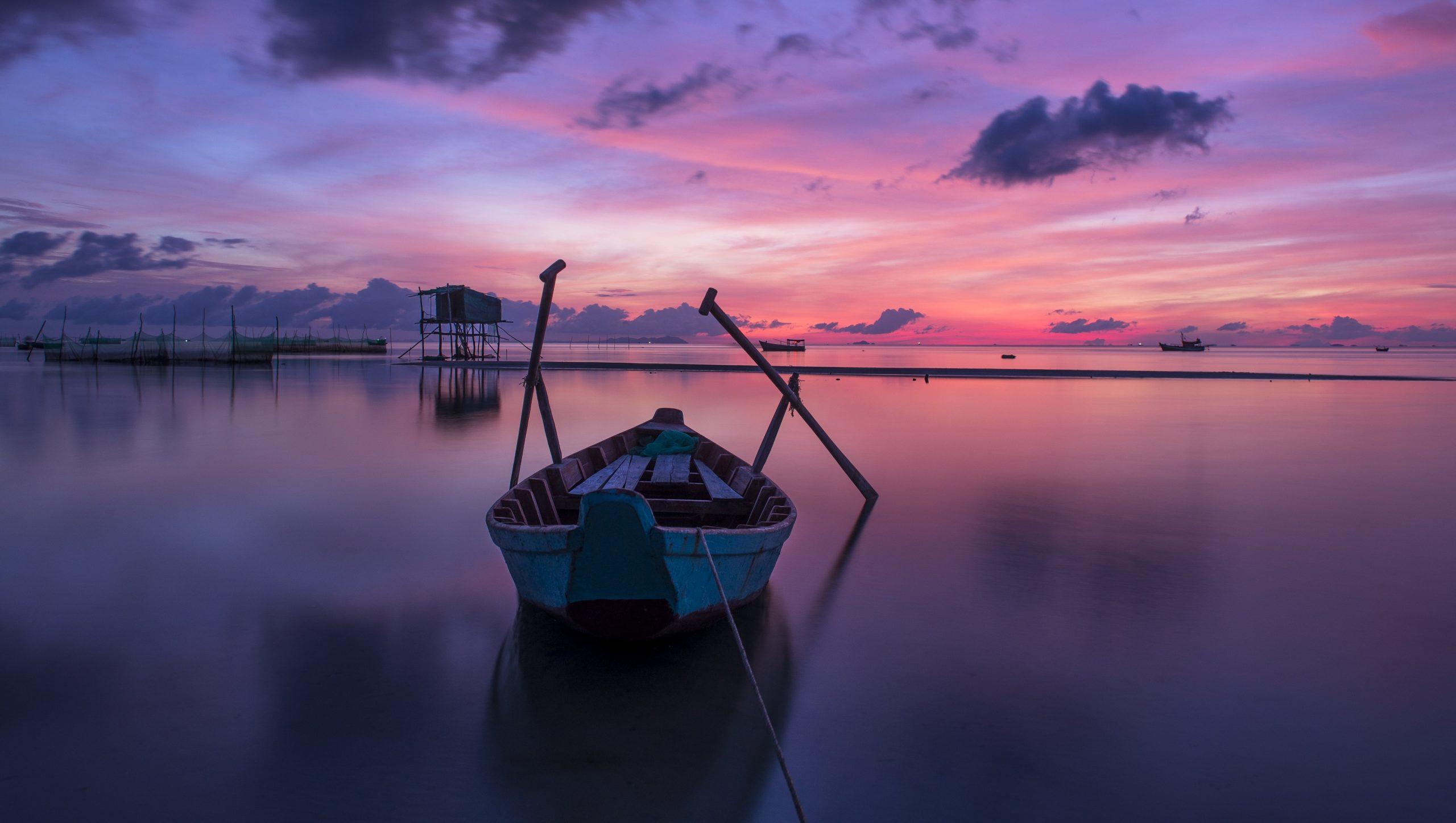 Sunset boat scene.