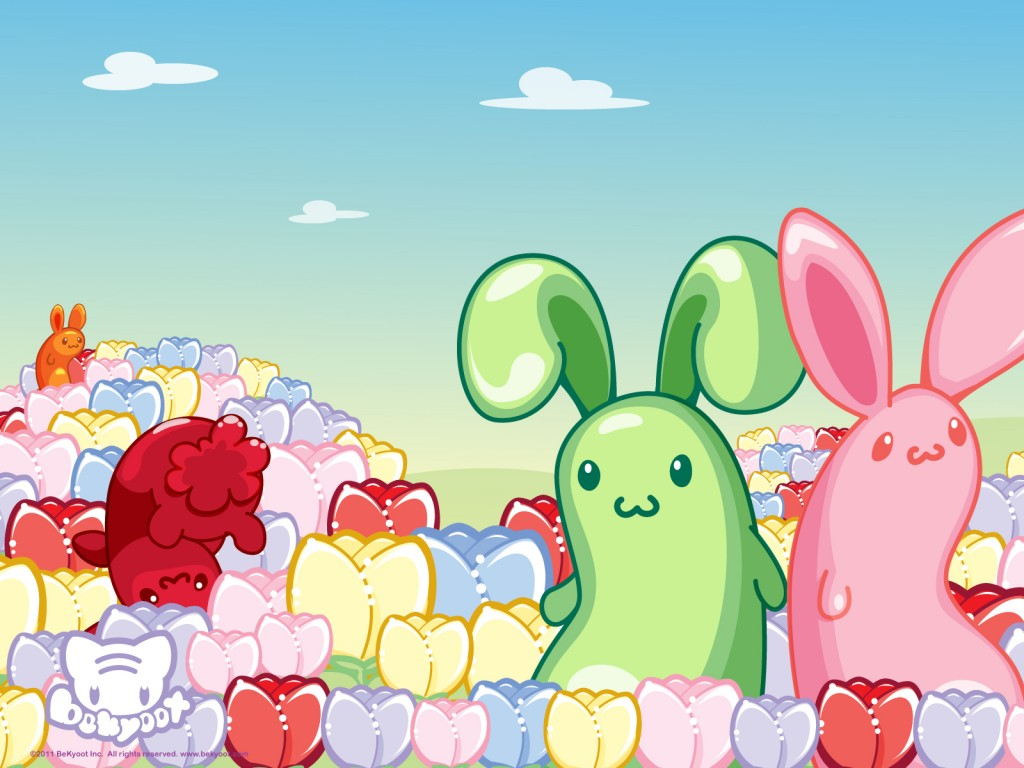 colourful flower field with rainbow bunnies
