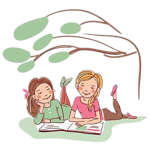 Two girls reading under a tree.