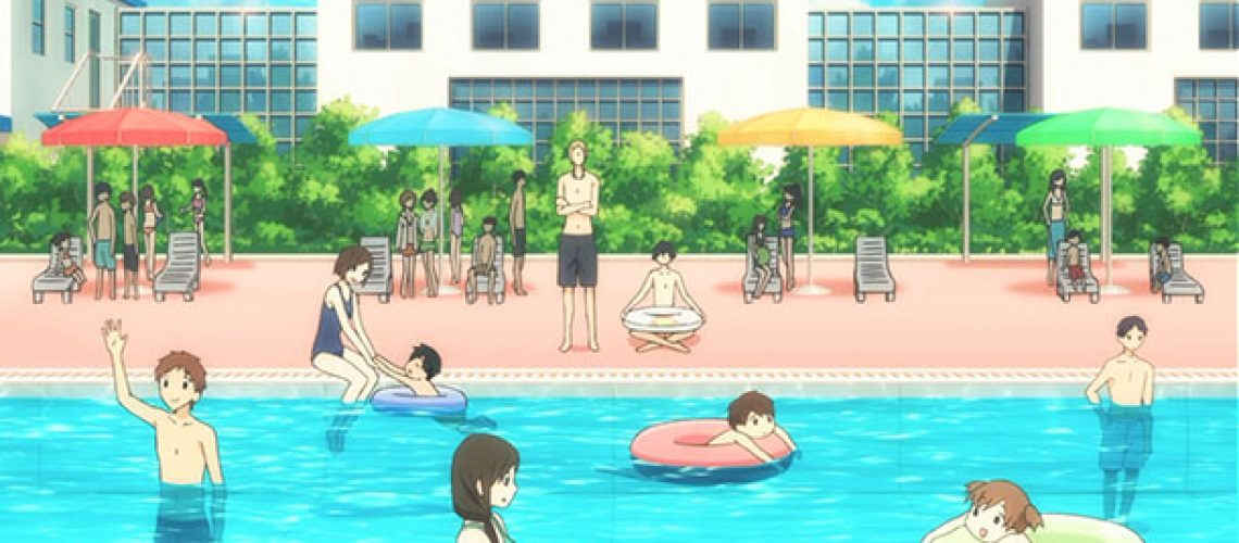 A pool party with anime characters